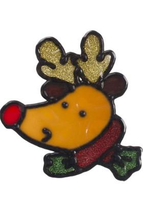 Pandoli Geyik Kafası Temalı Yılbaşı Sticker 18 Cm