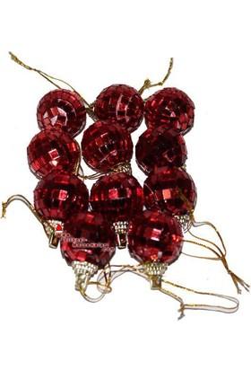 Pandoli Kırmızı Aynalı Yılbaşı Ağacı Süsü Disko Topu 6 Adet 4 Cm