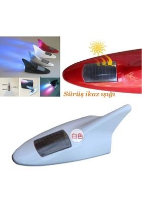 Tvet Anten Süs Balık Beyaz 8 Led İkaz Işıklı Güneş Enerjili