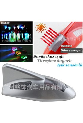 Tvet Anten Süs Balık Silver İkaz Işıklı Güneş Enerjili Sensörlü