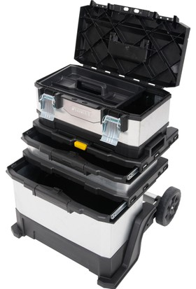 Stanley 1-95-833 Üç Katlı Galvanize Metal Plastik Tekerlekli Takım Çantası