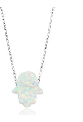 MeryemZeynep Gümüş Beyaz Opal Fatma'Nın Eli Kolye