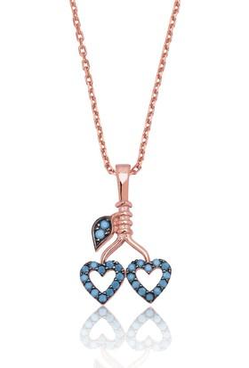 MeryemZeynep Gümüş Kiraz Dalında İki Kalp Kolye