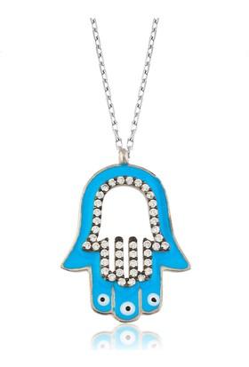 Bayan Lili Gümüş Mavi Mineli Fatma'nın Eli Kolye