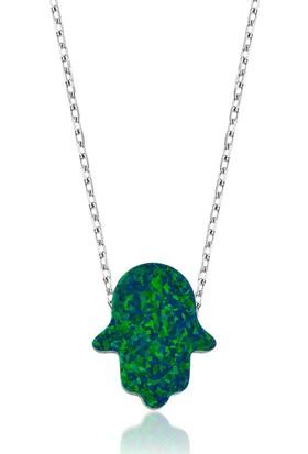 Bayan Lili Gümüş Yeşil Opal Fatma'nın Eli Kolye