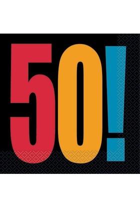 Pandoli Birthday Cheer 50 Yaş Kağıt Peçete 33X33 Cm 16 Adet