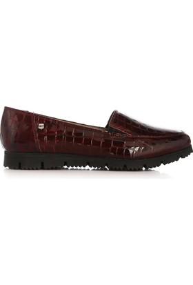 UK Polo Club 64705 Kadın Günlük Ayakkabı Bordo Kroko Rugan