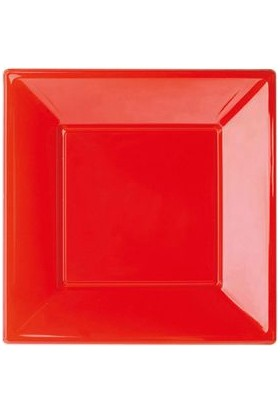 Kikajoy Plastik Kare Tabak Küçük Boy Kırmızı 17cm - 6 adet