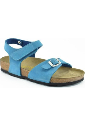 Real Natura 323-Venessa Mavi Nubuk Kız Çocuk Sandalet