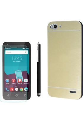 Gpack Vodafone Smart 6 Kılıf Sert Arka Kapak Motomo +Kalem+ + Cam