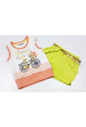 Kts Baby 3780 Bisiklet Baskılı Tişört Gabardin Şort Kız Takımı
