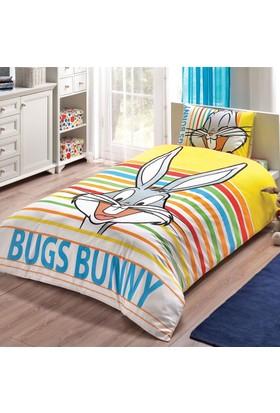 Taç Lisanslı Tek Kişilik Nevresim Takımı Buggs Bunny Stripe