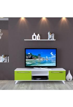 Eyibil Mobilya Aleyna 160 cm Gövde Beyaz Kapak Yeşil Tv Ünitesi Duvar Raflı
