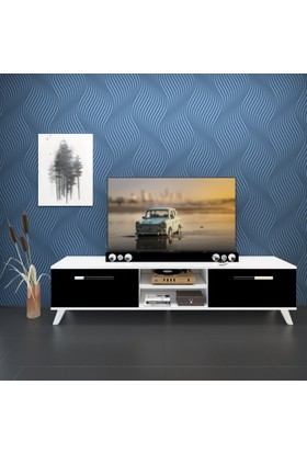 Eyibil Mobilya Güneş 180 cm Gövde Beyaz Kapak Parlak Siyah Tv Sehpası Tv Ünitesi