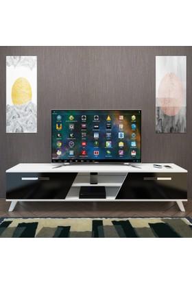 Eyibil Mobilya Yıldız 180 cm Gövde Beyaz Kapak Parlak Siyah Tv Sehpası Tv Ünitesi