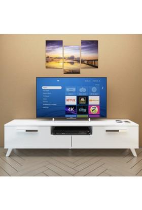 Eyibil Mobilya Güney 180 cm Parlak Beyaz Tv Sehpası Tv Ünitesi