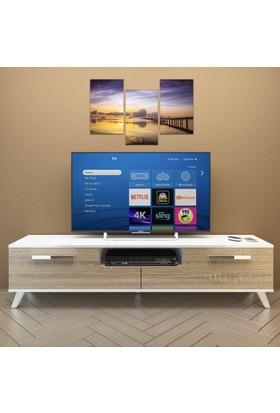 Eyibil Mobilya Güney 180 cm Gövde Beyaz Kapak Meşe Tv Sehpası Tv Ünitesi