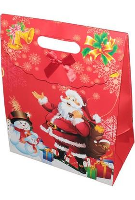 Büyük Boy Noel Babalı Yılbaşı Hediye Çantası