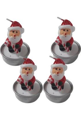 Bastonlu Noel Baba Figürlü Dekoratif Mum 4 Adet