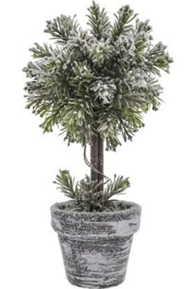 Kar Efektli Dekoratif Saksılı Masa Ağacı 26 cm
