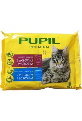 Pupil Pouch Kedi Konservesi 4'lü Paket 4X100 Gr ( 2 x biftek ve ciğer - 2 x alabalık ve Somon )