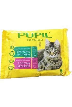 Pupil Pouch Kedi Konservesi 4'lü Paket 4X100 Gr ( 2 x kuzu ve hindi - 2 x dana ve Tavşan )