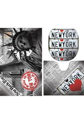 Melay New York Özgürlük Anıtı Kalpli Banyo Paspas Üçlü Set