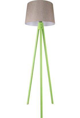 Yeşil Tripod Lambader / Kum Bejİ Şapka
