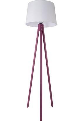Mürdüm Tripod Lambader / Beyaz Şapka