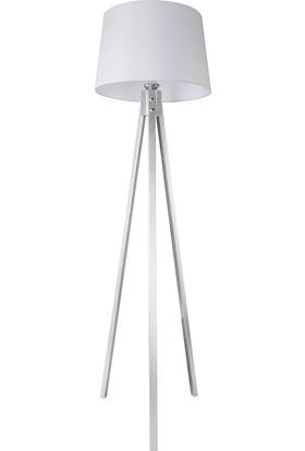 Gümüş Tripod Lambader / Beyaz Şapka