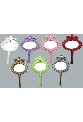 Beyaz Gelincik Tasarım Çiçekli Plastik Ayna - Gümüş (25'Li Paket)