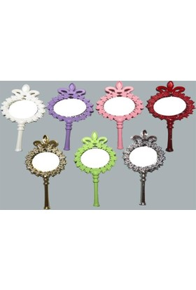Beyaz Gelincik Tasarım Çiçekli Plastik Ayna - Pembe (25'Li Paket)