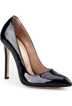 Cabani Yüksek Topuklu Stiletto Klasik Kadın Ayakkabı Siyah Rugan