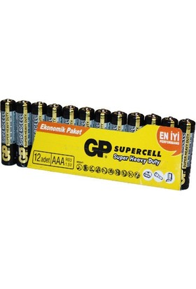 GP 12'li Supercell AAA Boy İnce Çinko Karbon Pil (GP24PL-VS12)