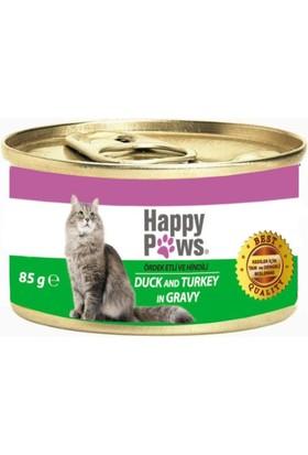 Happy Paws Duck and Turkey in Gravy Ördek Etli ve Hindi Soslu Yetişkin Kedi Konservesi 80 Gr.