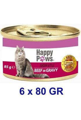 Happy Paws Beef in Gravy Sığır Etli ve Soslu Yetişkin Kedi Konservesi 80 Gr. (6 Adet)
