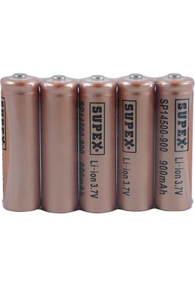Supex 14500 Li-Ion Aa 3.7V 900 Mah Şarjlı (Button Top) Kalem Pil
