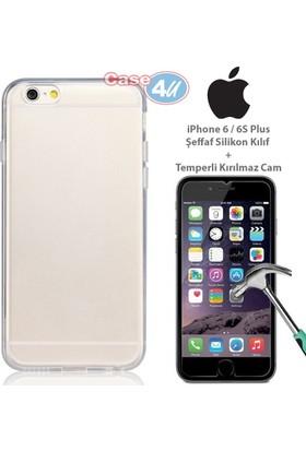 Case 4u Apple iPhone 6 Plus/6S Plus Silikon Kılıf Şeffaf + Cam Ekran Koruyucu