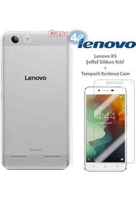 Case 4u Lenovo K5 Silikon Kılıf Şeffaf + Cam Ekran Koruyucu