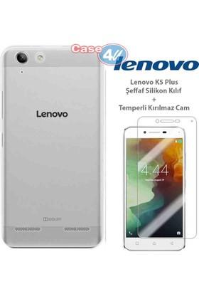 Case 4u Lenovo K5 Plus Silikon Kılıf Şeffaf + Cam Ekran Koruyucu