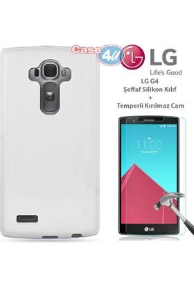 Case 4u LG G4 Silikon Kılıf Şeffaf + Cam Ekran Koruyucu