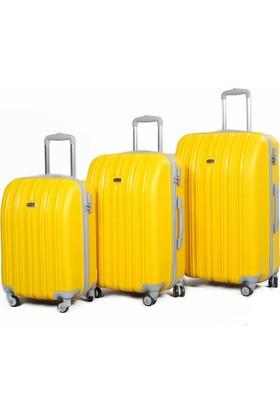 Tutqn %100 Yerli Safari Model Kırılmaz 3'Lü Valiz Seti Sarı