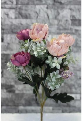 Yapay Çiçek Deposu Yapay Çiçek Mor Mercan Gül Demeti