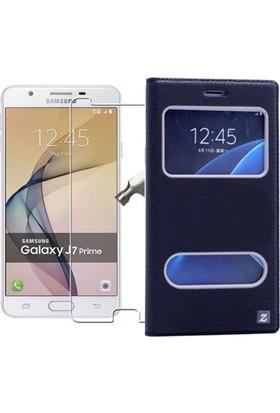 KılıfShop Samsung Galaxy J7 Prime Pencereli Kılıf + Ekran Koruyucu