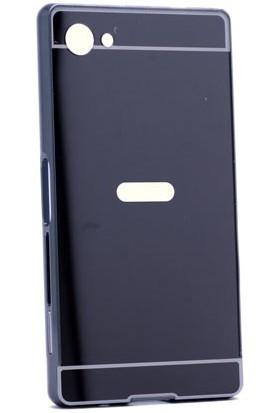 Kny Sony Xperia Z5 Compact Kılıf Aynalı Metal Bumper +Cam