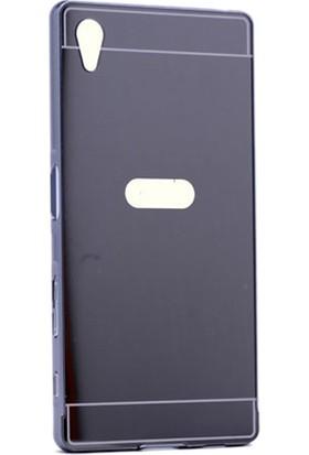 Kny Sony Xperia Z5 Premium Kılıf Aynalı Metal Bumper +Cam