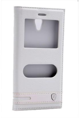 Kny Vodafone Smart Style 7 Kılıf Gizli Mıknatıslı Pencereli +Cam