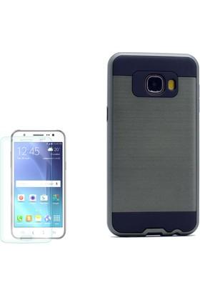 Gpack Samsung Galaxy C7 Kılıf Çift Katmanlı Darbe Emici Sert Kapak +Cam