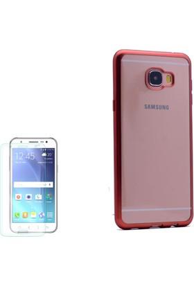 Gpack Samsung Galaxy C7 Kılıf Lazer Silikon Arka Kapak + Cam