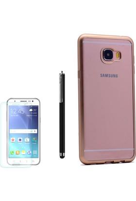 Gpack Samsung Galaxy C7 Kılıf Lazer Silikon Arka Kapak +Kalem + Cam
